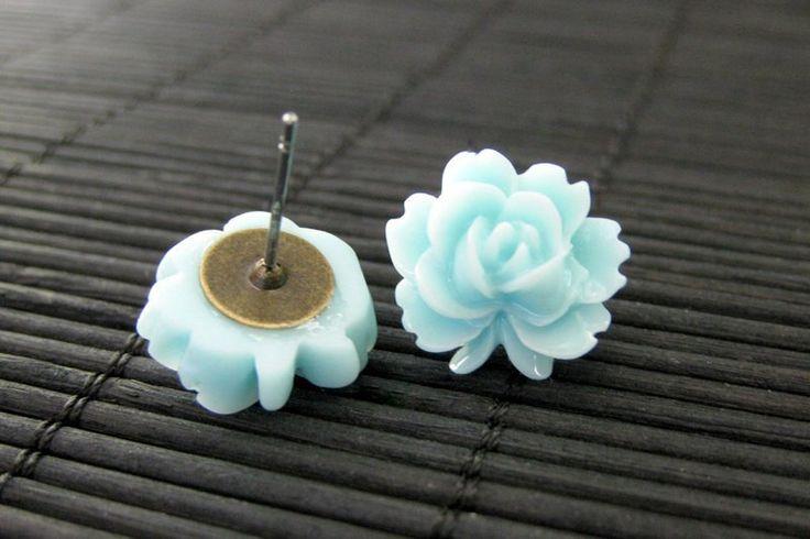 Lotus Flower Earrings in Aqua Blue and Bronze Post Earrings. Flower Jewelry by StumblingOnSainthood. Handmade Jewelry. by StumblingOnSainthood on Etsy https://www.etsy.com/listing/76078344/lotus-flower-earrings-in-aqua-blue-and