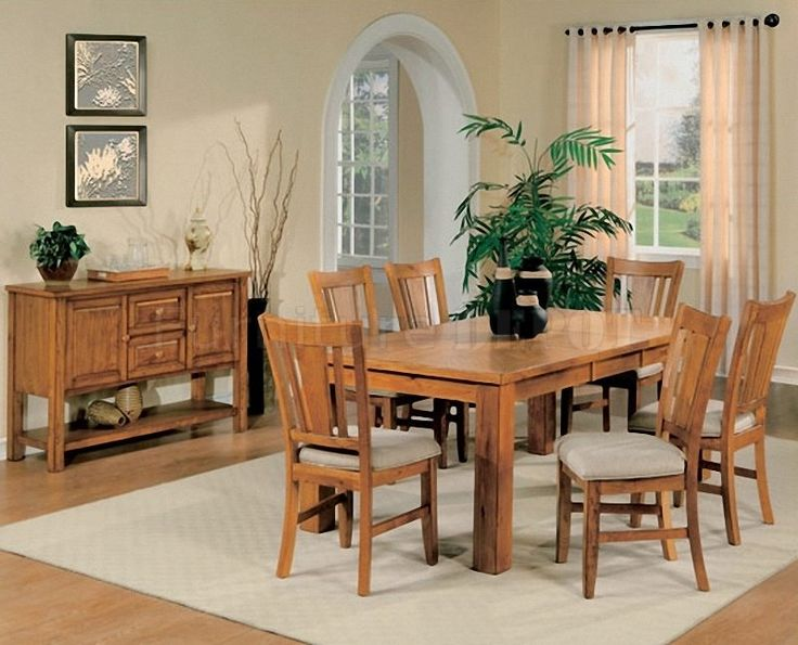 Light Oak Finish Casual Dining Room Table W/Optional Chairs Part 8