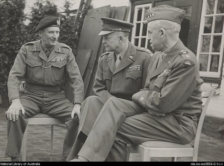 Field Marshal Montgomery, Gen. Dwight D. Eisenhower, and Gen. Omar Bradley.