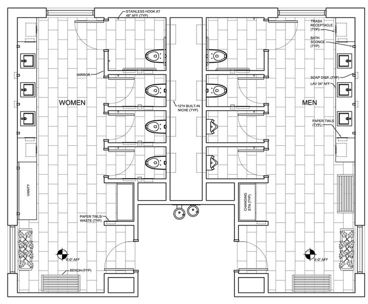Public restroom design google search work ideas for Bathroom dimensions