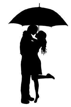Figuren: küssendes Paar unter Regenschrim