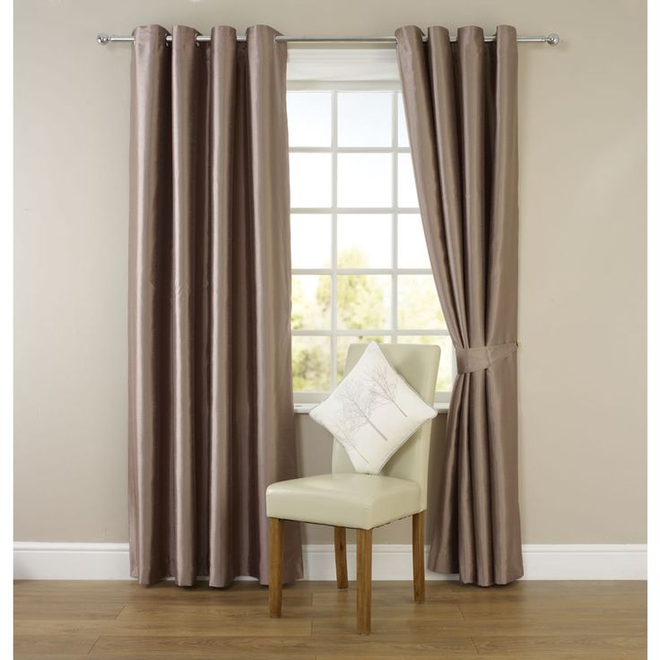Wilko Faux Silk Eyelet Curtains Mink 167cm x 183cm (check)
