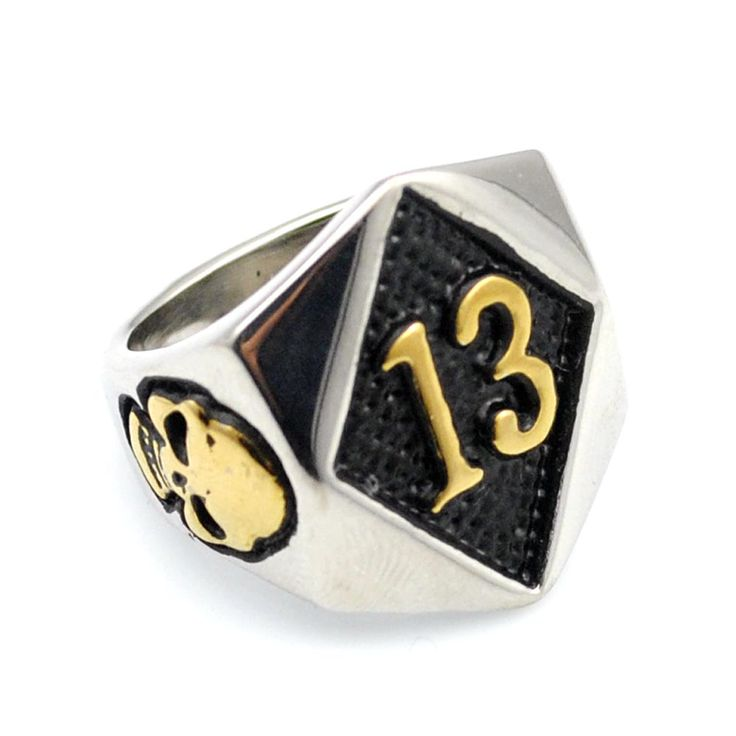 Gold Plated Stainless Steel Fashion Glamor Skull Ring Punk Rock Number 13 Ring Men's Jewelry,AR404