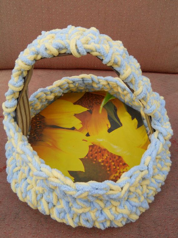 Crocheted Fruit Basket 10 high with handle by CelestialStudio13