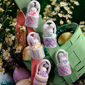 "Itsy-Bitsy Bunny Baskets Plastic Canvas Patterns. From Leisure Arts. 5 magnets or pins Size: 1""w x 2-1/4""h x 1""d"