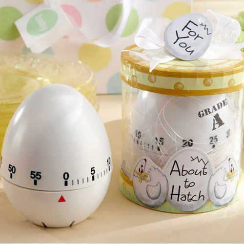 Tick-tock, tick-tock?could that be the sound of your biological clock? Well, not exactly. It?s the sound of this cheeky kitchen egg timer! Whether you?re oh-so-pregnant and ready to hatch or you?re hatching a plan to throw an unforgettable baby shower, these practical favors are the perfect choice.
