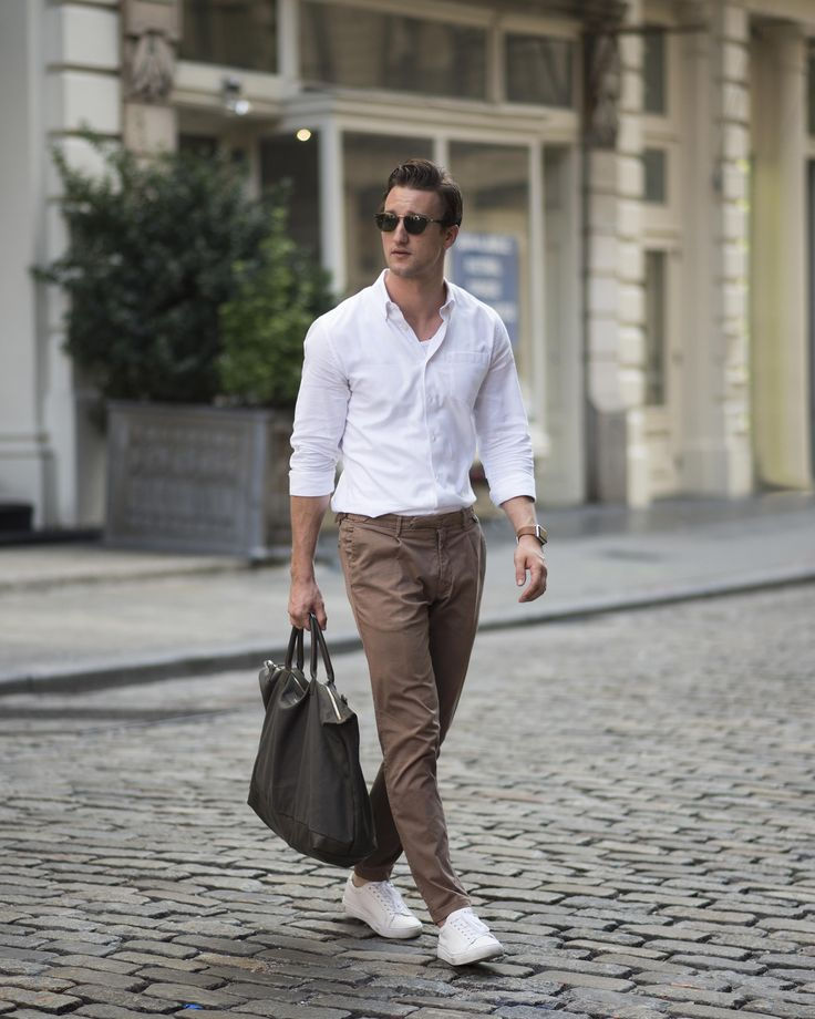 Shirt by Reiss | Similar here  Pants by L.B.M.1911 | See here  Sneakers by Lacoste | Shop here  Tote Bag by WANT | Shop here  Shades by GLCO | Similar here  Watch by Apple | Shop here
