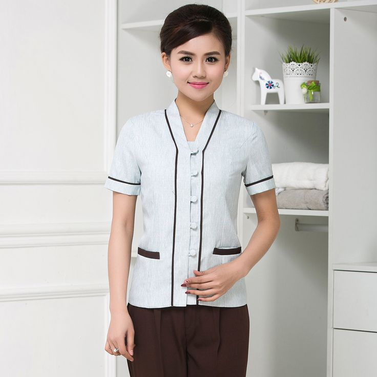 Hotel uniform summer female hotel housekeeping waiter work clothes cleaning staff with short sleeves(China (Mainland))