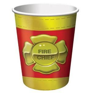 1096 - Firefighter Cups. Pack of 8 Firefighter Cups. 266ml. Paper - Pack of 8