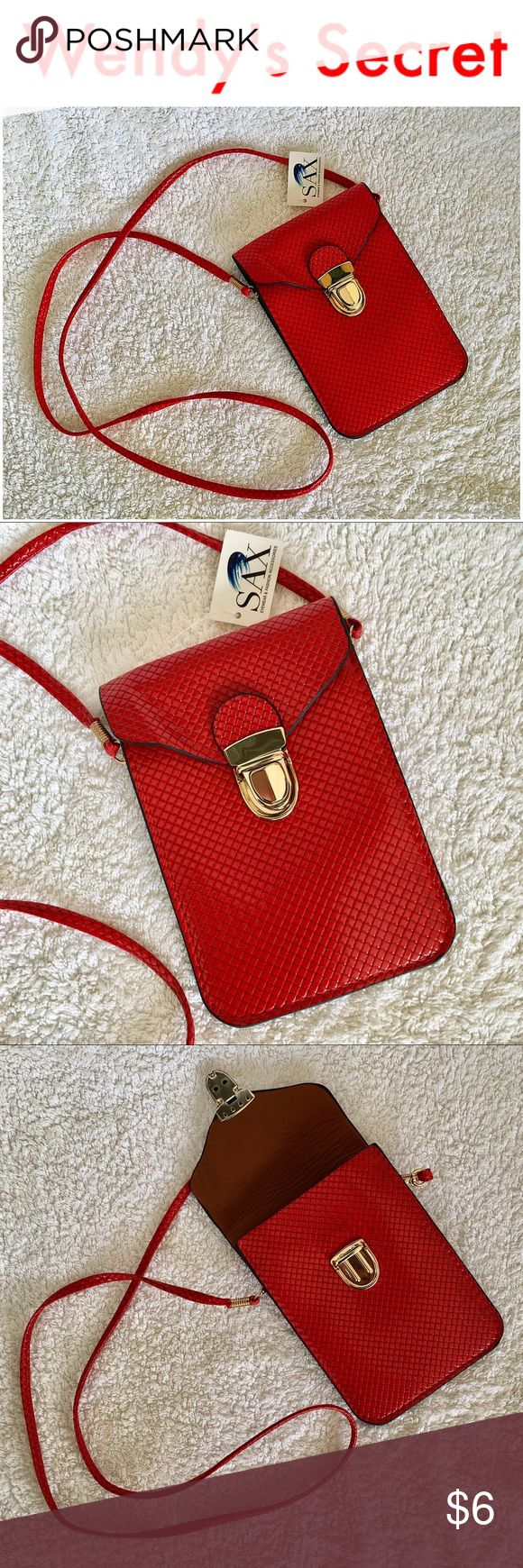 🆕 •SAX• Cell Phone Crossbody Case Purse New with tags SAX Cell Phone Crossbody Case Purse. Perfect fit for your iPhone 4, 5, 6, Samsung Galaxy series and almost all other smartphones. Protects cell phone. With PU leather exterior, ultra soft interior and secure lock. Avoids glass scratches. Shoulder strap convertible to neck strap. Main pocket, can comfortably hold your iPhone or smartphone and most important things: cash, cards, ID, passport etc. leaving your hands free. Approx…