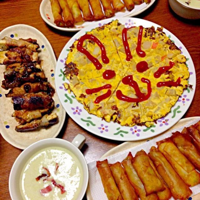 スパニッシュオムレツは、 昨日作ったポトフが余っていたので 刻んで入れみました! 美味しかった*\(^o^)/* - 51件のもぐもぐ - 茄子の葱味噌肉巻、枝豆チーズ春巻き、枝豆スープ、スパニッシュオムレツ by rika9