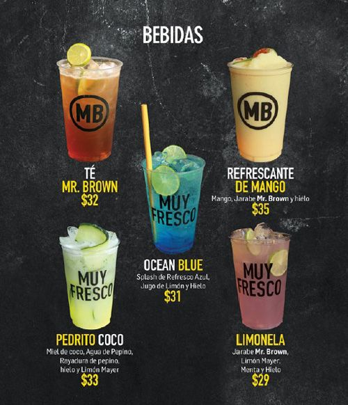 Mr. Brown menu design