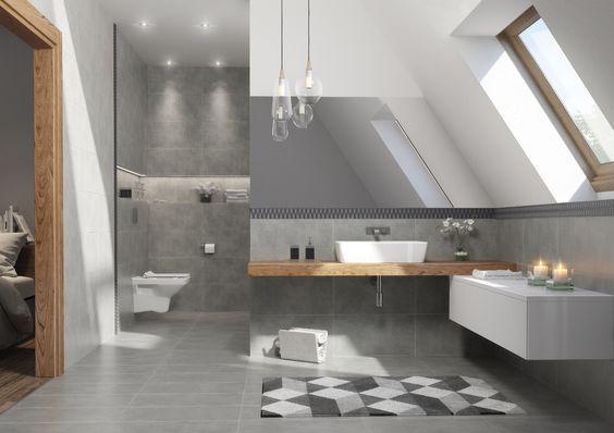 Szare płytki w łazience na poddaszu
