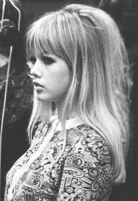 1960s hair with fringe. Wish I had enough hair to pull it off