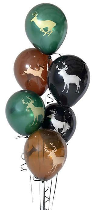 These buck balloons are great for any deer hunting enthusiast. Made by Next Camo, they are the perfect party decorations for hunters, for a boys graduation party (or girls!), bachelor party, Fathers Day, you name it!  Also available in pink! Check link below.  ** 6 latex balloons per set (2 brown, 2 hunter green, 2 black)  ** each balloon has two buck designs - one on front, different one on back  ** Can be filled with air or with helium (will only float with helium)  The perfect accessory…