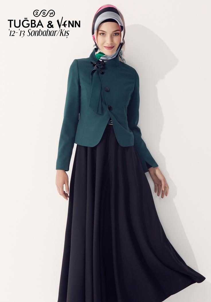 Tuğba & Venn '12-'13 Sonbahar/Kış. Hijab. Jacket with Dress