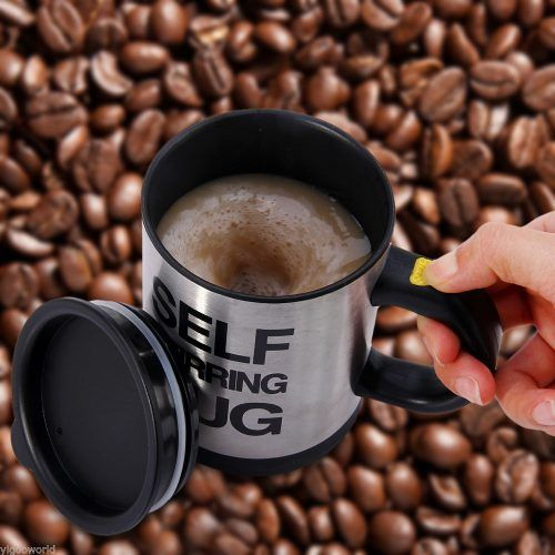 Self Stirring Mug Self Stirring Mug for those who are just plain lazy! Requires 2 x AAA batteries (not included). Simply press the stir button and hey presto the perfect drink every time. Get maximum results with minimum effort! The self-stirring lazy mug is the ultimate lazy man's mug.