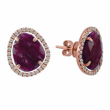 Ruby Diamond Earrings in Rose Gold by Meira T #Belloria