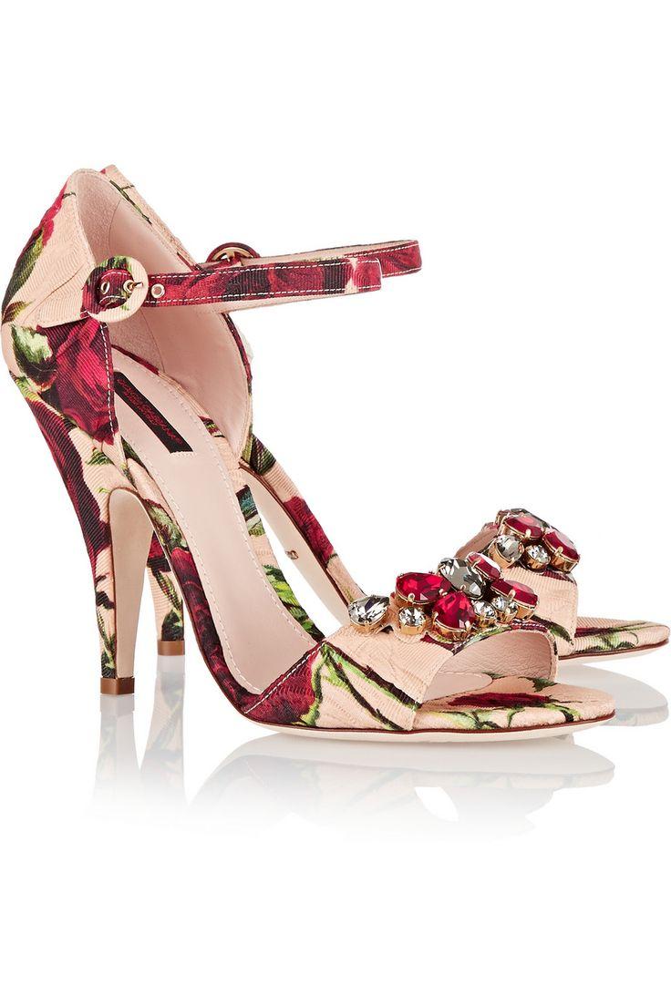 Dolce & Gabbana Embroidered heel printed sandals