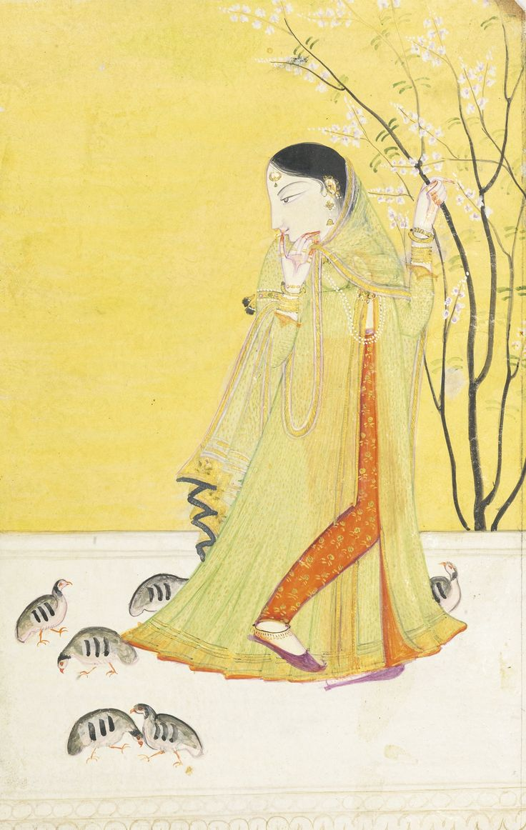 Nayika dressed in yellow grasping a blossoming tree watches 6 baby birds. Likely a Spring raga. Pahari, Kangra or Guler, India, ca 1790-1810