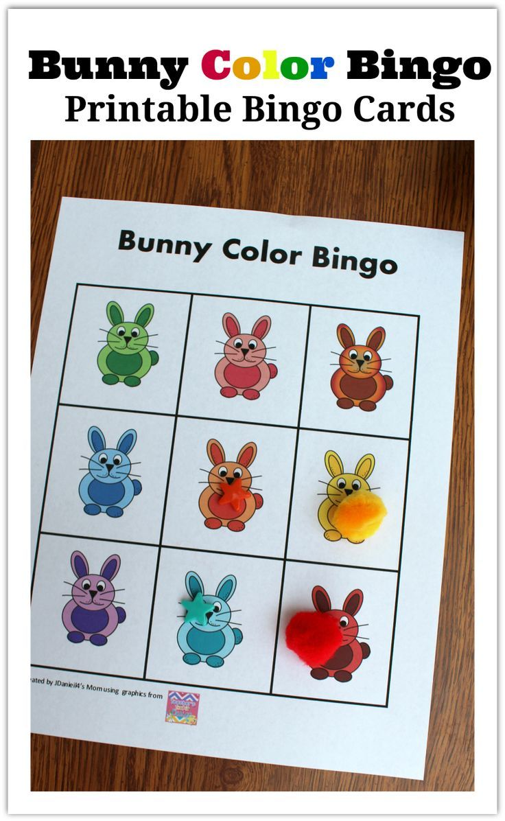 Color cards for kids - Your Kids Will Have Fun Exploring Colors With These Free Set Of Bunny Themed Printable Bingo Cards There Are Three Cards In The Set