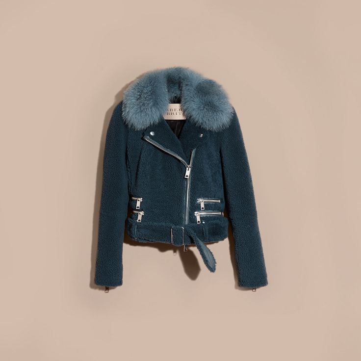 Shearling Biker Jacket with Fur Collar Light Steel Blue | Burberry