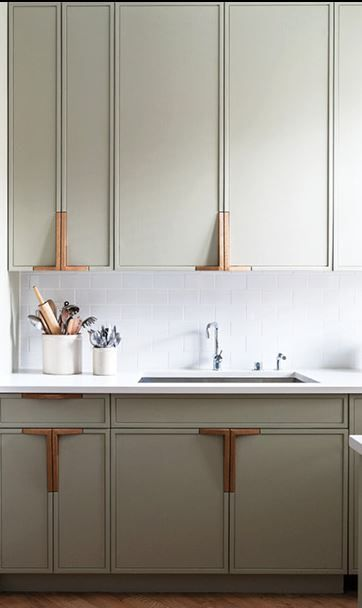 Integrated cabinet pulls, paint is Farrow & Ball's French Grey - Park Slope Residence by Workstead