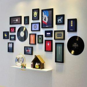 纯实木加厚黑胶唱片框照片墙有框画装饰 相框墙 相片墙 创意组合