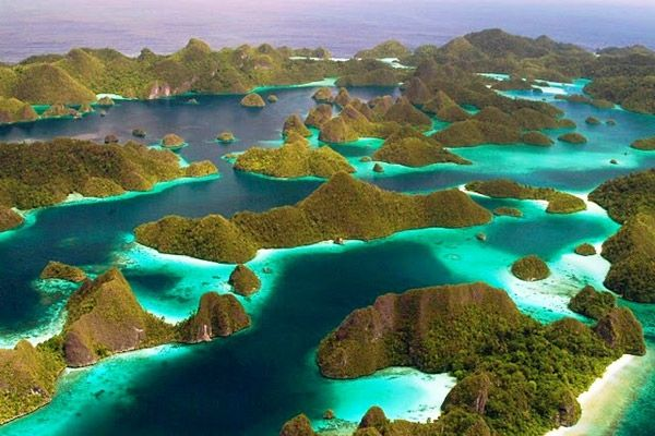 "Raja Ampat Islands or ""Four Kings"" sits on the island of New Guinea, in Indonesia's West Papua province"