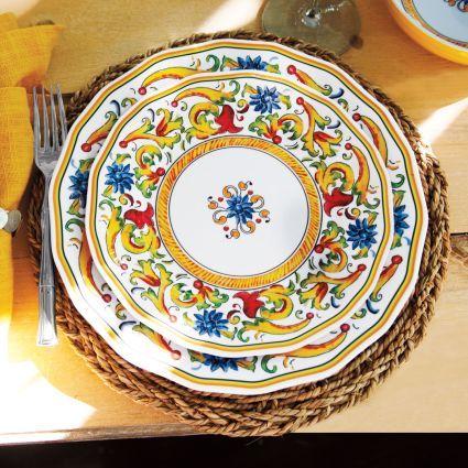 Floreale 12-Piece Melamine Dinnerware Set, available at #surlatable