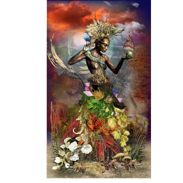 Mawu: Dahomey mythology,  Creator Goddess by catyravenwood on Polyvore featuring…