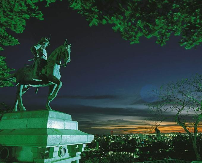 Date Masamune keeping a watchful eye over Sendai.