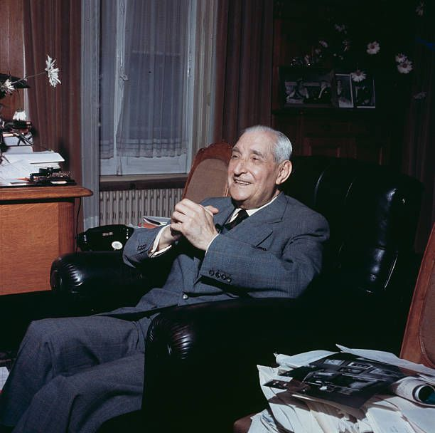 Portuguese politician and Prime Minister of Portugal Antonio de Oliveira Salazar pictured sitting in a leather armchair in an office in 1968