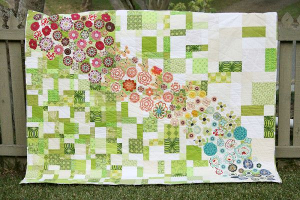 Meadow (a quilt tutorial)mixed sizes of tossed 9 patch used.: