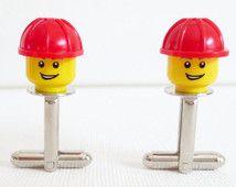 LEGO® Construction Man Cufflinks Cuff Links Hard Hat Wedding Groom Groomsmen Groomsman Gift