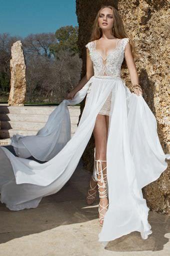Julie Vino Dacota пляжное свадебное платье в стиле бохо, с разрезом