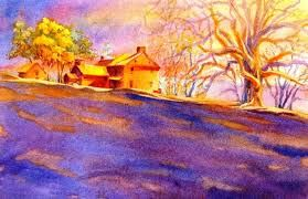 This painting uses a double complimentary scheme with the yellow/purple and blue/orange complementary colors.