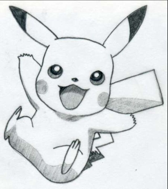 Easy pikachu drawing if this was colored it would be even better #pokemon<3