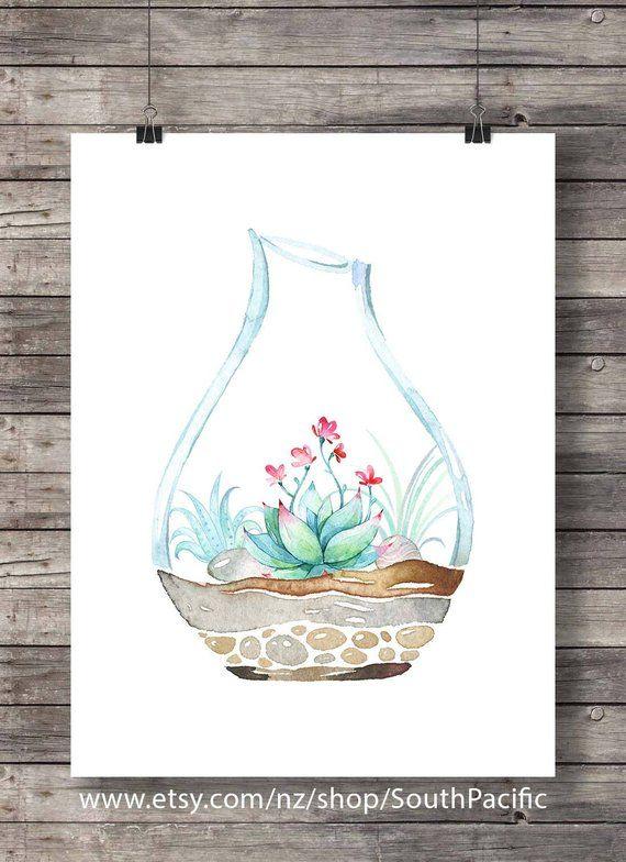 Impression D Art De Terrarium Succulentes Cactus Aquarelle