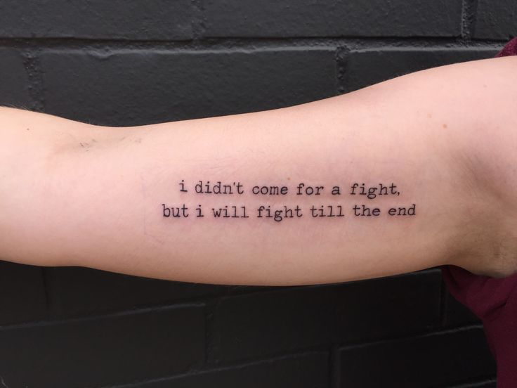 "Got this quote done by Zac at Designing Skin in Columbus, OH. It is a line from ""Centuries"" by Fall Out Boy. My next tattoo goal is to get Patrick Stump to write out ""Doc, there's a hole where something was"" to go on the inside of my left arm to commemorate the successful end to my brain cancer treatments."