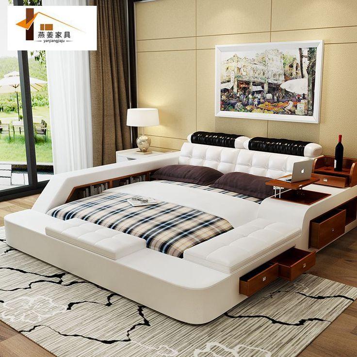 China muebles del dormitorio minimalista moderno cama de - Camas de cuero ...