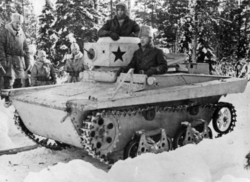 Swedish Volunteers with a Captured Soviet T-37 during the Winter War.
