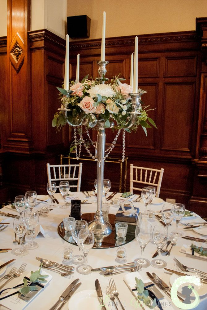 candelabra centrepiece at the Midland Hotel Manchester - Vintage glamour wedding styling - Blush pink and white elegant wedding - Laurel Weddings http://www.laurelweddings.com/ivory-and-blush-pink-wedding-at-the-midland-hotel/
