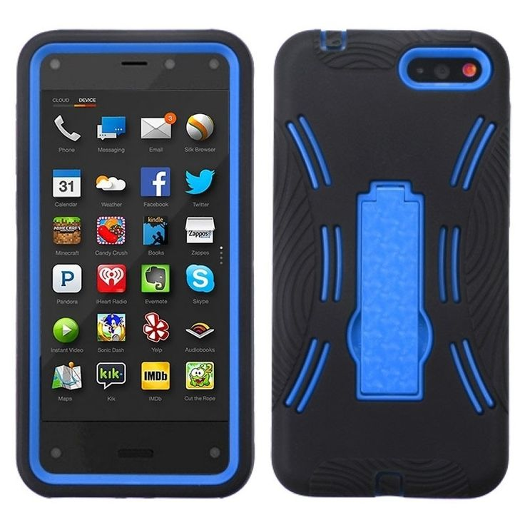 Insten Stand Rugged PC Soft Silicone Hard Plastic Hybrid Phone Case Cover for Amazon Fire Phone