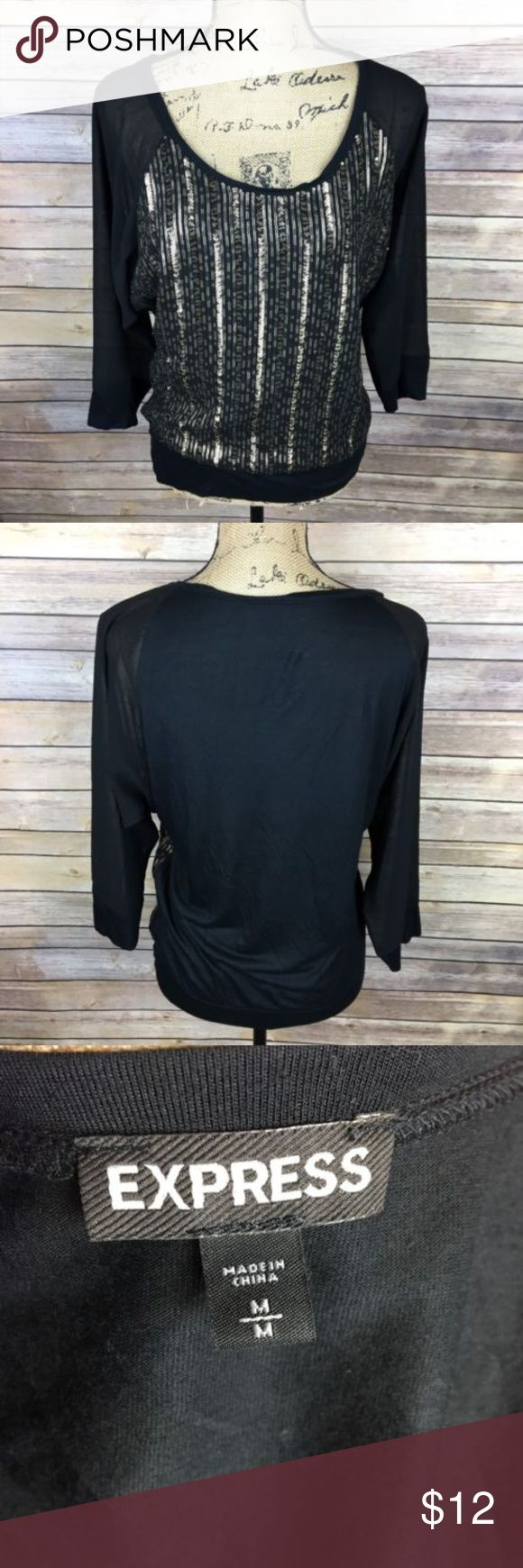 288 Best My Posh Closet Images On Pinterest Bpoi The Colours Of Indonesia Tees Black Express Knit Top Size Medium Gold Sequin