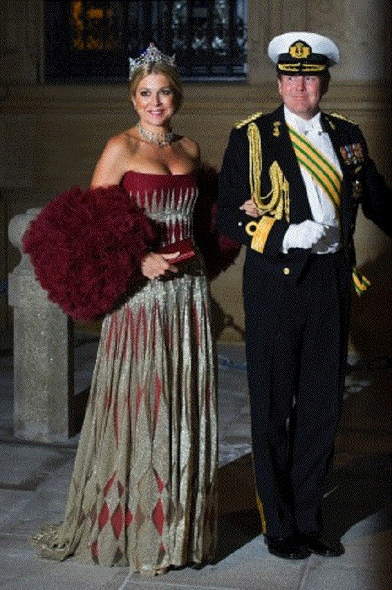 Crown Prince Willem Alexander and Princess Maxima of the Netherlands attends the Gala dinner in Luxembourg on 19 Oct 2012