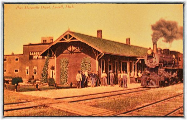 Lowell-Michigan-RR-depot - The Lowell Depot as it looked in 1912 in color. The Locomotive was the Pere Marquette No. 399 built in 1901 and scrapped in 1928.