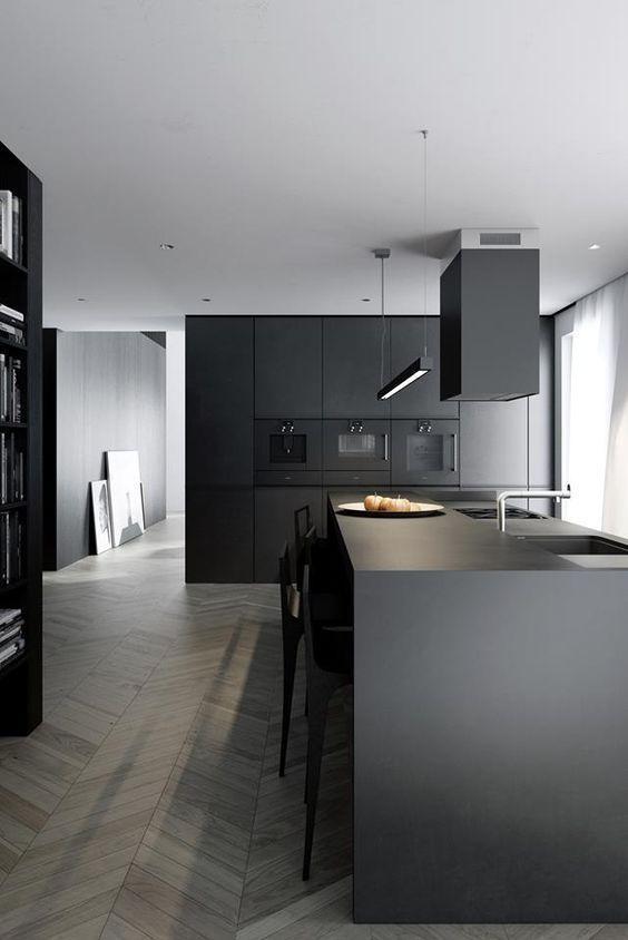 Off black, charcoal kitchen and oak chevron parquet. Modern design at it's best. Sleek, modern and a little mysterious effect!