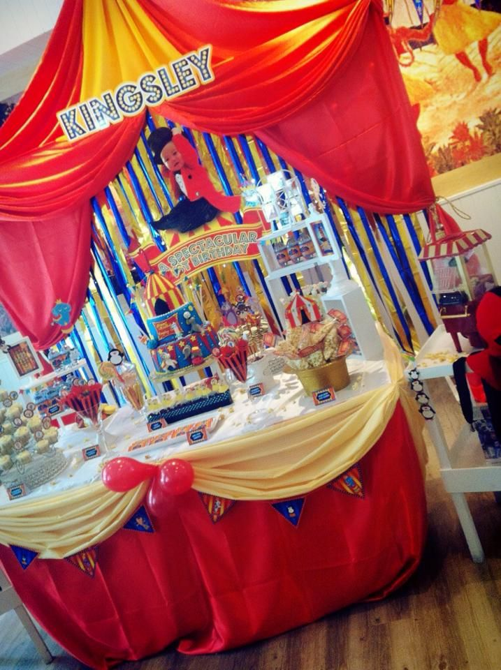 Backdrop cake table candy buffet for a circus animals for Table design for 1st birthday