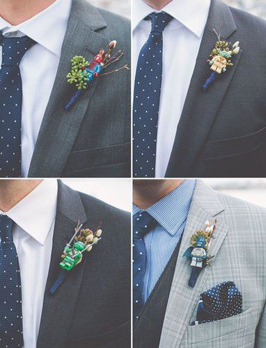 lego boutonniere... and 13 Lego Wedding Ideas You'll  Want to Copy